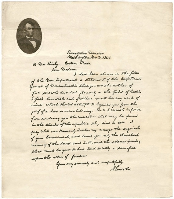 The Bixby Letter  U2013 The Abraham Lincoln Association