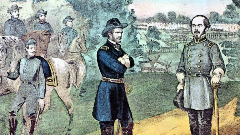 american-civil-war-1861-1865-william-tecumseh-sherman-1820-1891-left-unionist-northern-general-meeting-general-joseph-e-johnston-to-discuss-terms-of-surrender-of-confederate-southern-forces-i